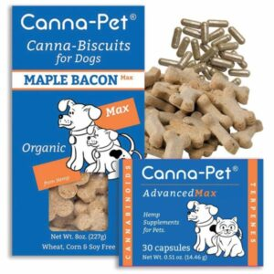 Package: Canna-Pet® Advanced MaxCBD- 30 count capsules & MaxCBD Biscuits